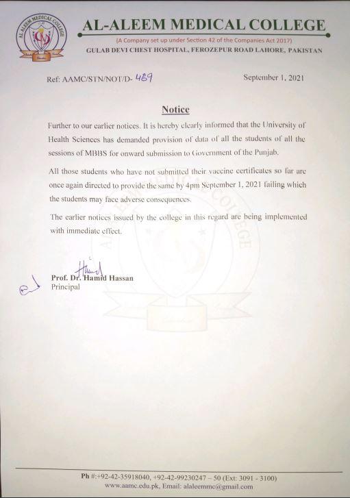 Final Notice Regarding COVID Vaccination Certificate