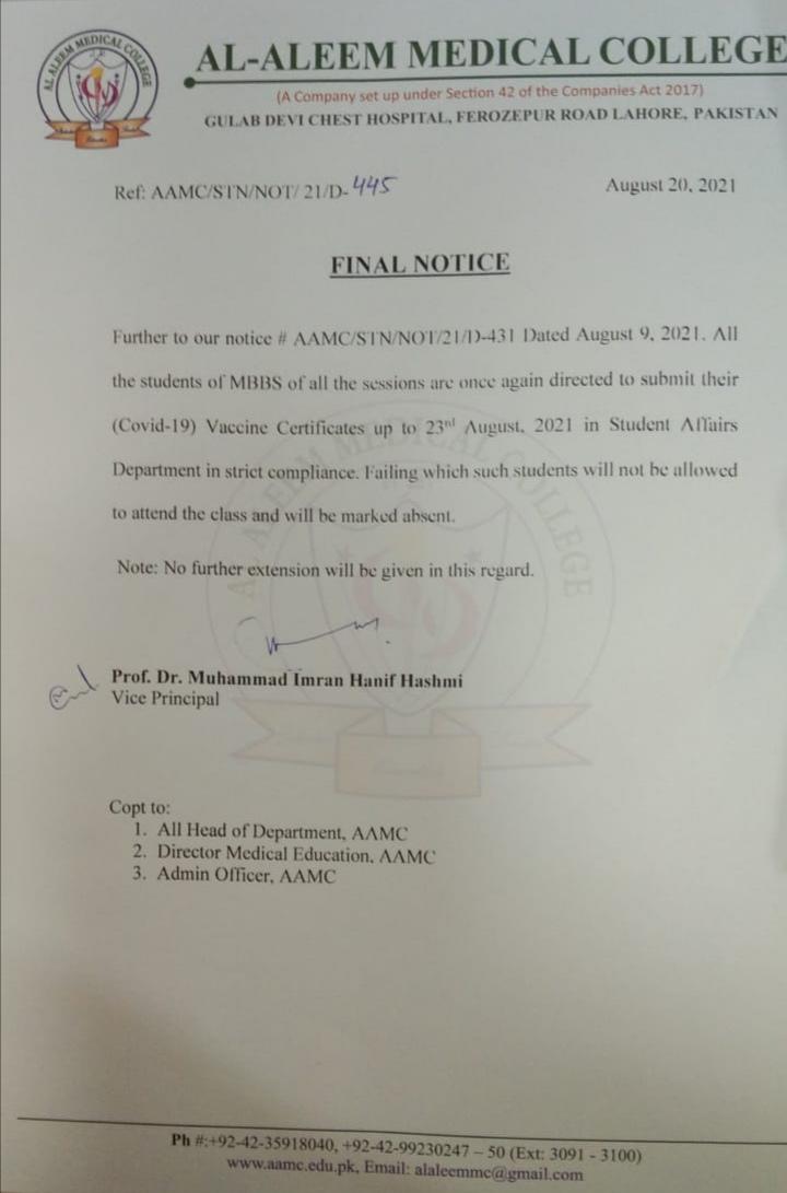 Notice Regarding COVID Vaccination